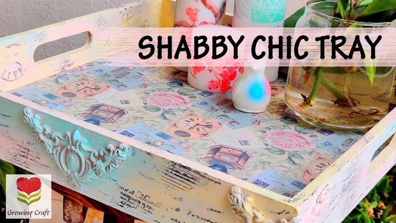 SHABBY CHIC♥Decoupage on tray♥How to do color blending♥Chalk Paint♥Decoupage for beginners