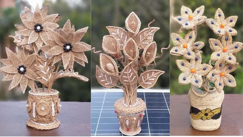 DIY Flower Flower Vase Decoration Idea with Jute Burlap   Home Decor Jute Flower With Pot Making