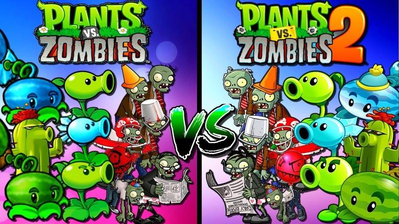 Pvz 1 vs. Pvz 2 Compare Zombies and Plants Gameplay Plants vs Zombies 2