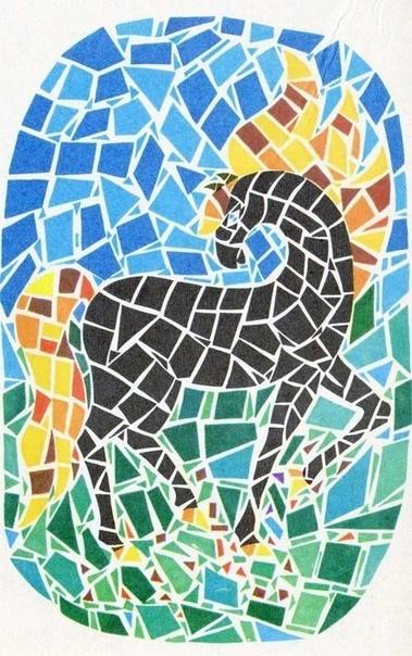 Мозаика из бумаги По всей видимости, искусство мозаики начало сопровождать человека с древнейших времен, задолго до расцвета цивилизации. Элементами первых творений в этой технике служили мелкие