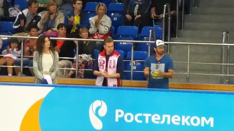Eteri Tutberidze Ilya Averbukh watching Medvedeva's LP at Sochi 2015