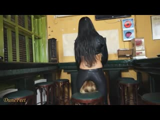 Sexy Lady Cop in Black Leather Pants Fac…on Cute Bar Girl