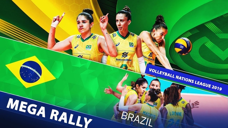 Mega Rally Of Brazil Womens Team Amazing Digs Wonderful Saves Powerful Spikes VNL 2019