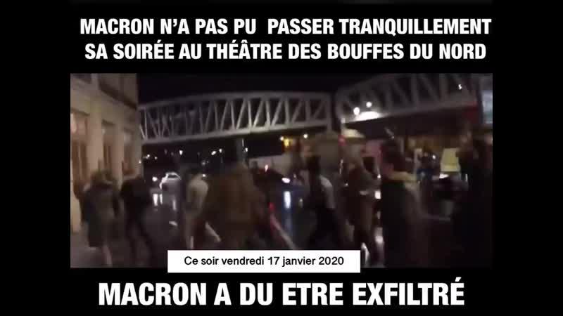 Macron n a pas pu aller au théâtre tranquillement ce soir à Paris au BOuffes du Nord Macron a été mp4