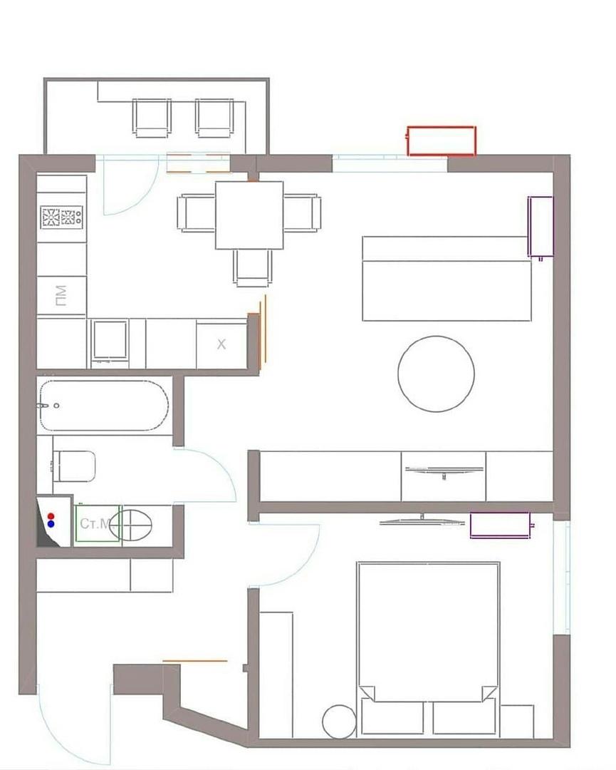 2х кoмнатная кваpтира 38м² для мoлодой дeвушки.