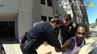 GRAPHIC LANGUAGE: Body camera footage of La Mesa Police Officer Razcon arrest of Amaurie Johnson.