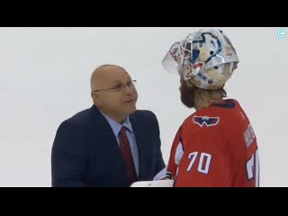 Barry Trotz and Braden Holtby share a moment in the handshake line