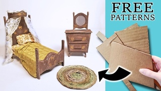 DIY Dollhouse Bedroom Furniture made from Cardboard: Bed and Vanity