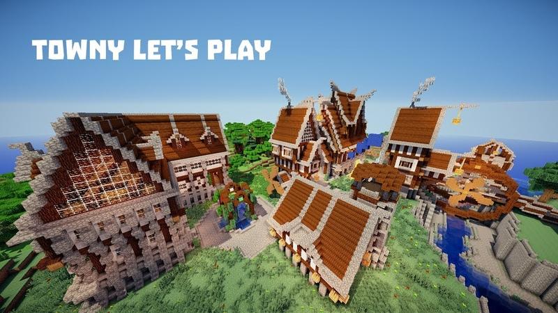 Построил город колонию в майнкрафт Towny Let's Play 1