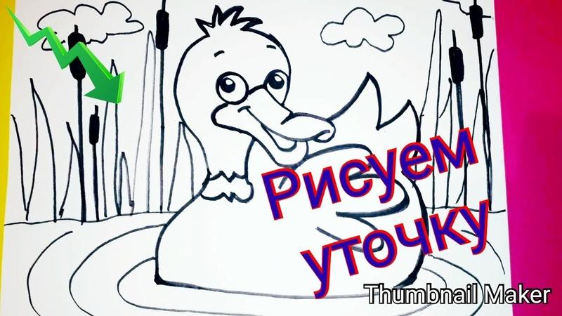 Как нарисовать УТКУ на воде How to draw a duck