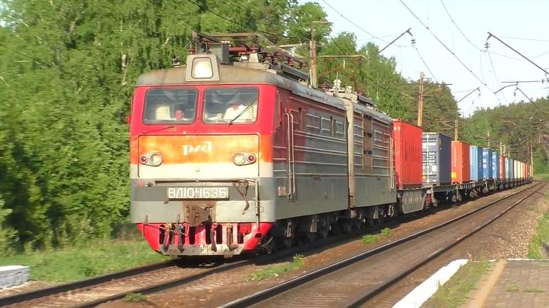 ВЛ10К-1636 с грузовым поездом и встречный электропоезд ЭД4МК-0099 на Изумруд в о.п. Чапаевская