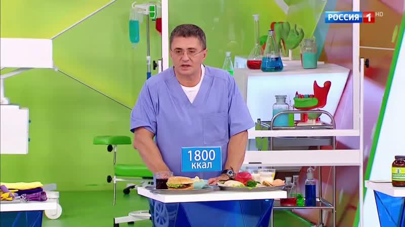 Доктор Мясников наглядно показал, как ежедневная норма калорий выглядит в полезном и вредном наборе продуктов.