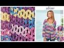 Tığ İşi Yazlık Hırka Düz Örgü Tekniği Crochet Summer Cardigan with Alize Diva Batik