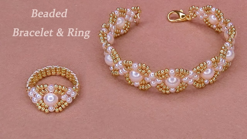 DIY Beaded Classic Bracelet and Beaded Ring with Pearls and Gold Seed Beads手工串珠手链和串珠戒指