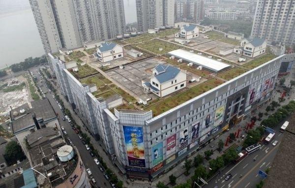 Дома на крыше торгового комплекса, Хунань, Китай