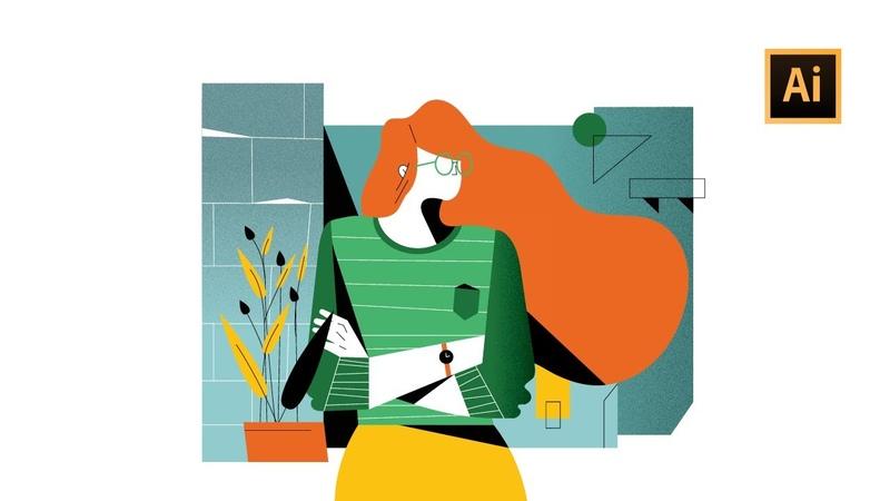 Digital Art Character Illustration with Grain Texture Adobe Illustrator Tutorial