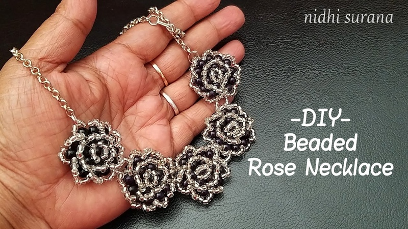 ⚜️ Mother's Day Gift idea Beaded Rose Necklace Collar Tutorial DIY 0285