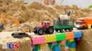 Экскаватор, Трактор, Мусоровозы - Построить мост - мультик про машинки