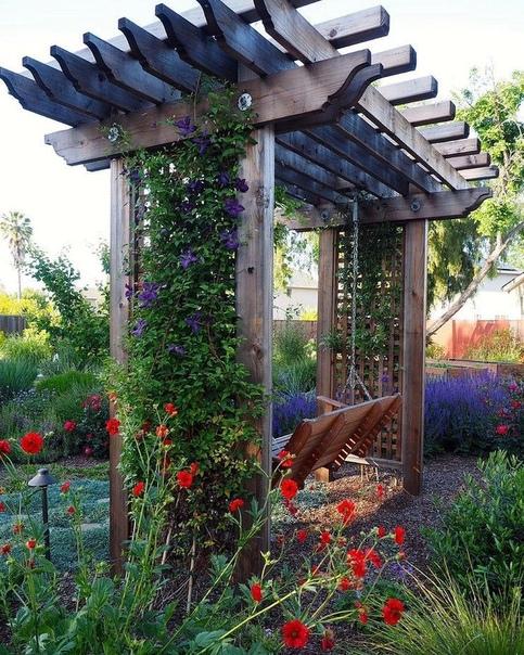 Вертикальное озеленение в саду. Пергола, которую хочется засадить чем-то красивым: в данном случае клематис.Причём, хорошо сочетать разные сорта, будет создаваться впечатление, что это все на