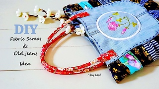 DIY BAG IDEA / fabric scraps + old jeans / unique gift ideas for Grandma Part 2 #HandyMum
