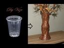 Plastik Pet Bardak ile Mermer desen Vazo DIY Vase with Plastic Glass - Plaster