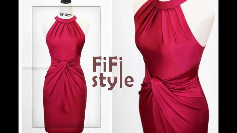 FiFi Style Siêu phẩm tôn vòng một giấu bụng Đầm cổ yếm xếp ly xoắn eo