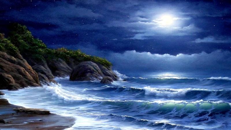 Лунная соната Бетховена и шум моря Beethoven Moonlight Sonata and ocean