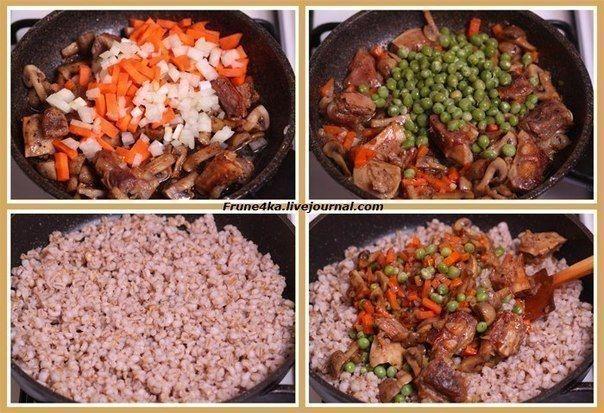 Фото: Перловая каша с мясом, грибами и овощами
